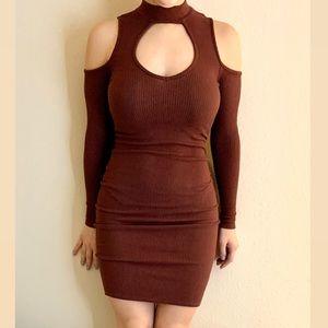 Charlotte Russe Cold Shoulder Bodycon Midi Dress